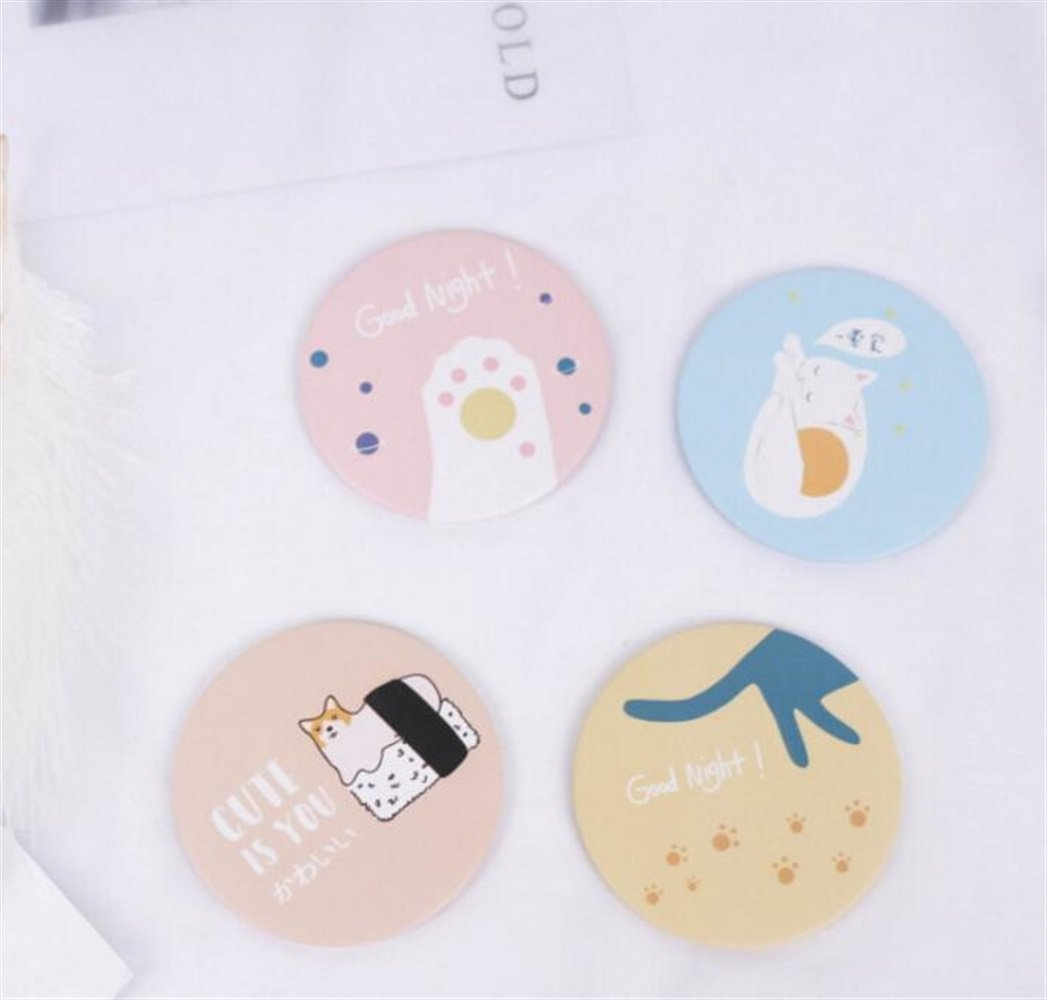 Yingealy Childrens Mirror Mini Round Cartoon Cat Pattern Small Glass Mirrors Circles for Crafts Decoration Cosmetic Accessory