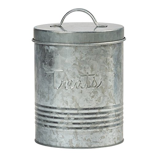 Amici Pet, A7YY024GALR, Retro Treats Galvanized Relief Lettering Metal Storage Canister, Food Safe, Push Top, 72 Ounces ()
