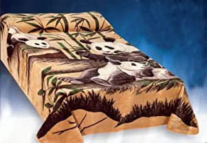 Beautiful Soft Beige with Panda + Bamboo Tree Blanket for Queen or Full Bed