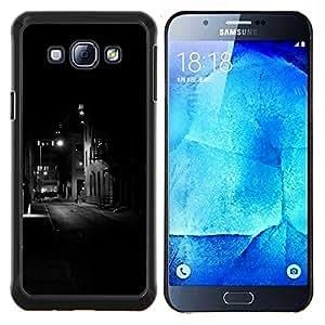 Luces Edificios negros Somber Noche- Metal de aluminio y de plástico duro Caja del teléfono - Negro - Samsung Galaxy A8 / SM-A800
