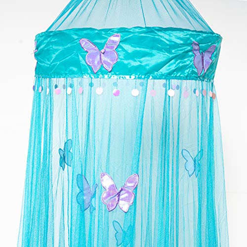 OctoRose Butterfly Bed Canopy Mosquito NET Crib Twin Full Queen King (Teal Blue) (Girls Purple Bed Canopy)