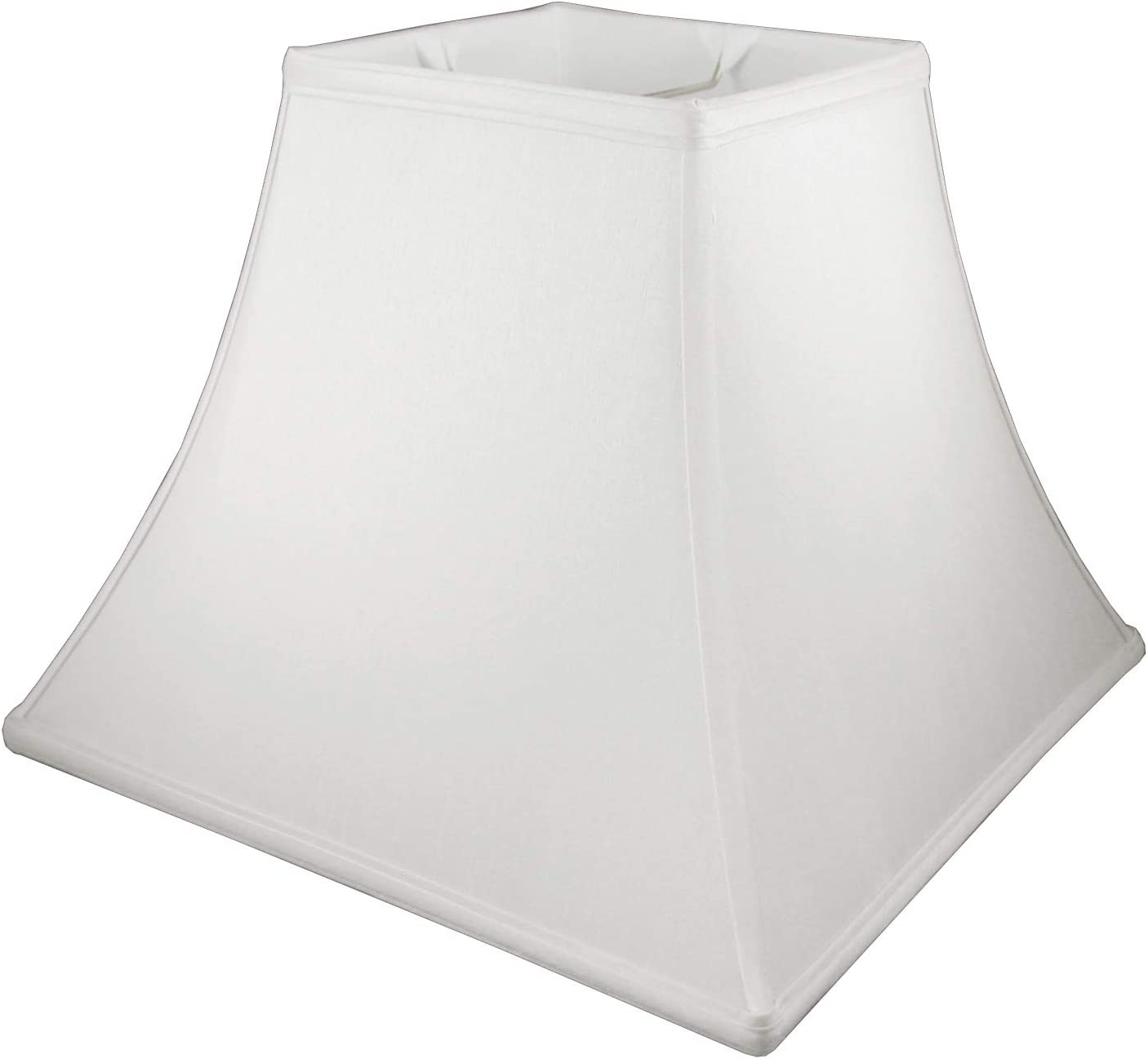 American Pride 8 x 20 x 12 Square Soft Shantung Tailored Lampshade, Off-white