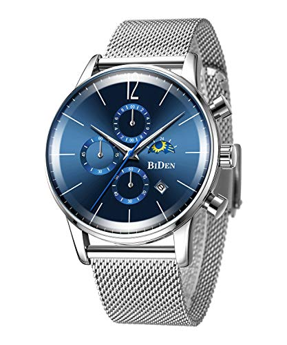 Bestn Men's Analog Quartz Watch Multifunction with Date Stainless Steel Mesh Band Casual Wrist Watches ()