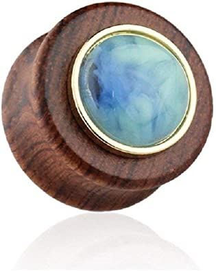 Covet Jewelry Hollow Organic Sono Wood with Tribal Lotus Dangle Saddle Plug