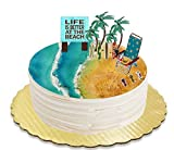 Life is Better at the Beach Surf Boards Beach Chair Beer Cans and Palm Trees Plaque Cake Decoration Topper