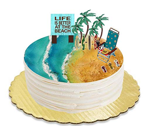 Life is Better at the Beach Surf Boards Beach Chair Beer Cans and Palm Trees Plaque Cake Decoration -
