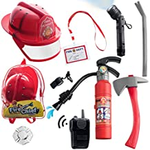 10 pcs Fireman Toys for Kids Costume and Role Play Accessories with Bag included