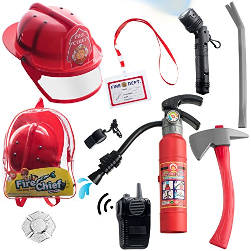 10 pcs Fireman Toys for Kids Costume and Role Play Accessories with Bag included, Great for Halloween