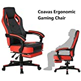 Computer Gaming Chair High-back Racing Chair with Footrest and Reclining Backrest Ergonomic Design Racing Chair –Black/Red Review