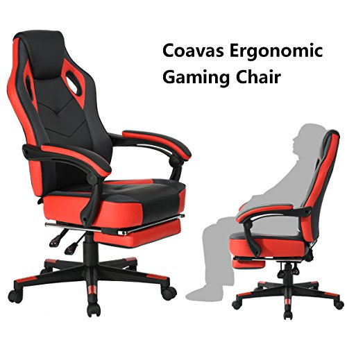 Computer Gaming Chair High-back Racing Chair with Footrest and Reclining Backrest Ergonomic Design Racing Chair –Black/Red