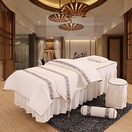 ynh Embroidery Massage Table Sheets Sets,Linen Solid Color Beauty Bed Cover Breathable Soft Salon Bedspread 4pc -g 60x180cm(24x71inch)
