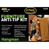 Hangman Anti-Tip Kit to Prevent Furniture Falling-Steel (TK-400-4)