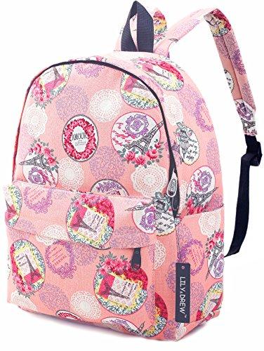 Canvas Travel School Backpack for Women Girls Boys Teens Kids Children (Paris Pink - Sunglasses De Paris Design