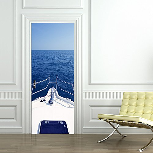 CaseFan 3d Door Wallpaper Murals Wall Stickers--Motorboat Yacht for Home Decoration Self-adhesive Vinyl Removable Retro Art Door Decals 30.3x78.7