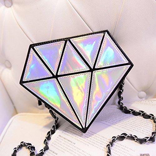 xinyiwei Fashion - Bolso bandolera holográ fico, diseñ o de diamante, color plateado diseño de diamante