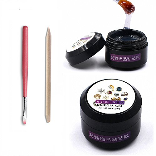 MOPRETTY Super Sticky Rhinestone Glue Adhesive Builder Tip Manicure Nail Art Decoration Clear UV Gel 8ml With 1 Painting Pen 1 wood stick (UV Light Cure Needed)