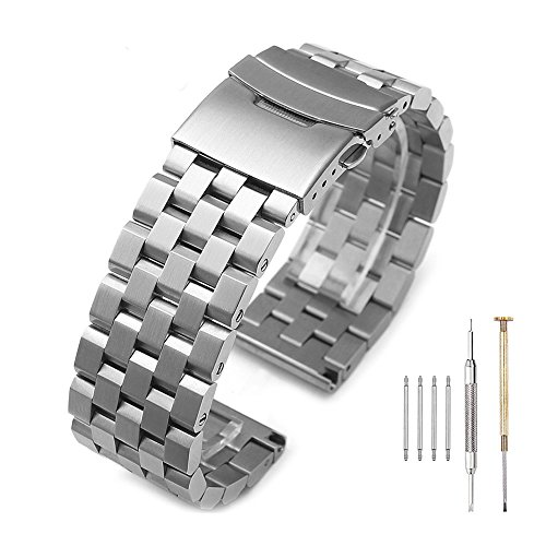 24 Mm Stainless Steel Watch Band - Brushed Silver 316L Solid Stainless Steel Watch Band Bracelet Strap 20mm/22mm/24mm Double Locking Clasp for Mens Women