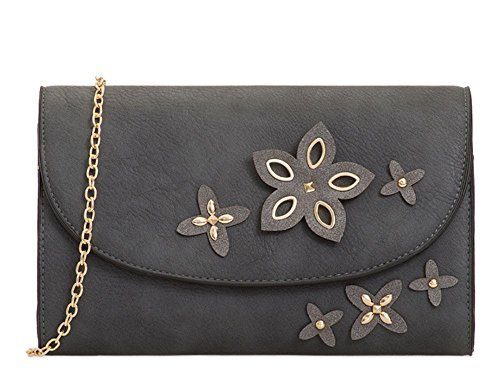 Strap Faux Floral Ladies Bag Evening Charcoal Chain Detail Clutch Leather 7f6WWPqSX