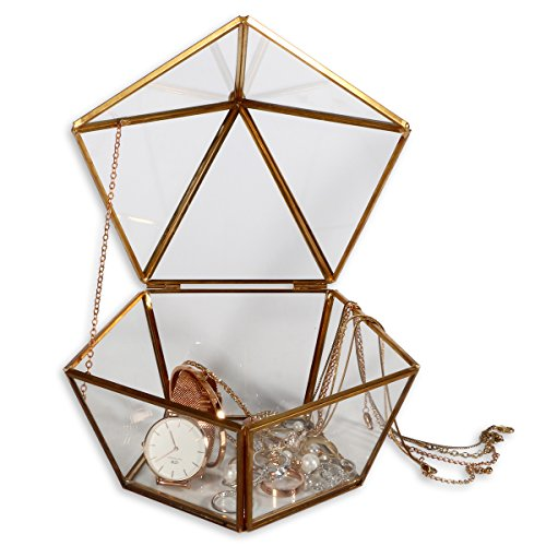 WANYA Decorative Pentagon Glass Box for Plant Jewelry Display with Hinged Top Lid (Box Crystal Ring)