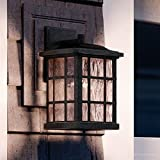 Luxury Craftsman Outdoor Wall Light, Small Size: 13''H x 8''W, with Tudor Style Elements, Highly-Detailed Design, High-End Black Silk Finish and Water Glass, UQL1232 by Urban Ambiance