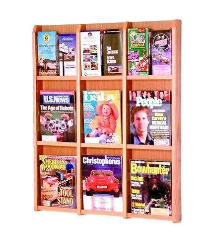 Wooden Mallet 9-Magazine/18-Brochure Divulge Wall Display with Brochure Inserts, Light Oak - 9 Pocket Magazine Display