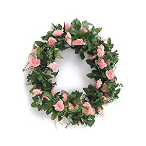 Charmly 2 Pack 14.4 FT Artificial Rose Vine Fake Rhododendron Silk Flowers Garlands Hanging Ivy Plants Home Hotel Office Wedding Party Garden Décor Pink 25
