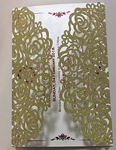 50 Sets Champaign Gold glitter paper Laser Cut Rose Flower Wedding Invitations Cards Hollow Floral Exquisite Carving Greeting invites cards for Engagement Birthday Bridal Shower