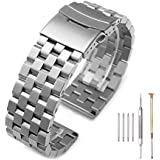 Brushed Silver 316L Solid Stainless Steel Watch Band Bracelet Strap 20mm/22mm/24mm Double Locking Clasp for Mens Women