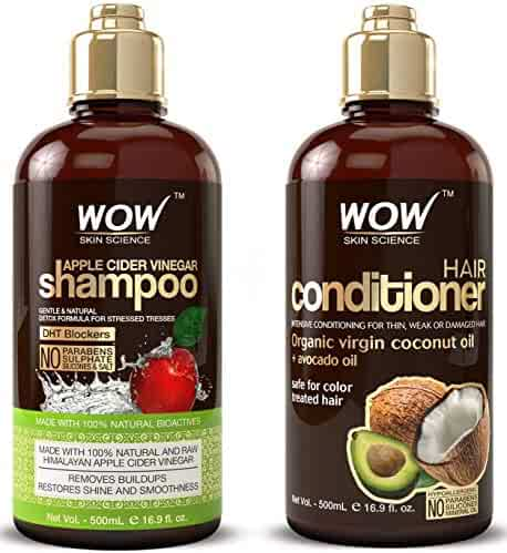 WOW Apple Cider Vinegar Shampoo & Hair Conditioner Set - (2 x 16.9 Fl Oz / 500mL) - Increase Gloss, Hydration, Shine - Reduce Itchy Scalp, Dandruff & Frizz - No Parabens or Sulfates - All Hair Types