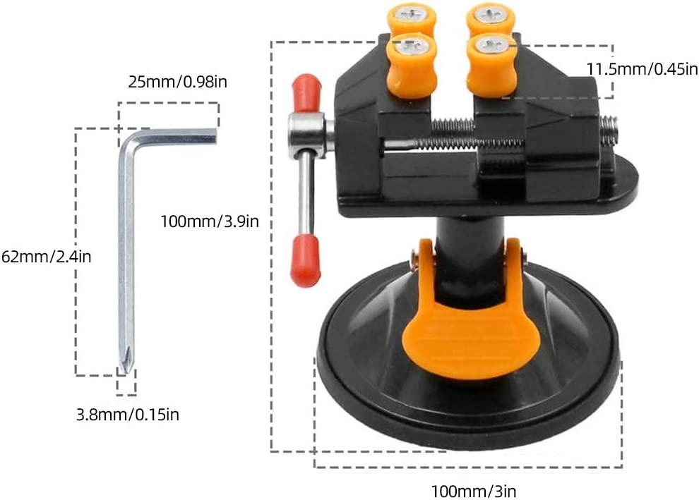 Mini Drill Press Vise with Suction Cup Table Bench Vice Universal Carving Vise Clasps for DIY Craft Jewelry Drill Making