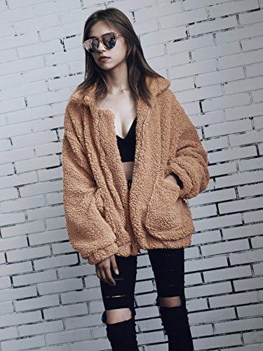 ECOWISH Womens Coat Casual Lapel Fleece Fuzzy Faux Shearling Zipper Warm Winter Oversized Outwear Jackets