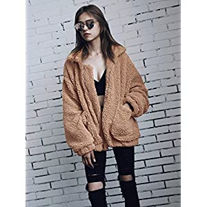 PRETTYGARDEN Women's Fashion Long Sleeve Lapel Zip Up Faux Shearling Shaggy Oversized Coat Jacket with Pockets Warm Winter