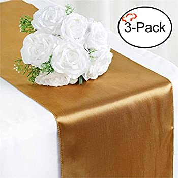 tiger chef 3pack gold 12 x 108 inches long satin table runner for wedding table runners fit rectange and round table decorations for birthday parties - Wedding Table Runners