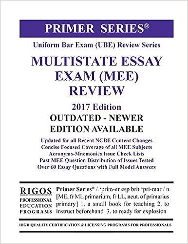 Rigos Primer Series Uniform Bar Exam (UBE) Review Multistate