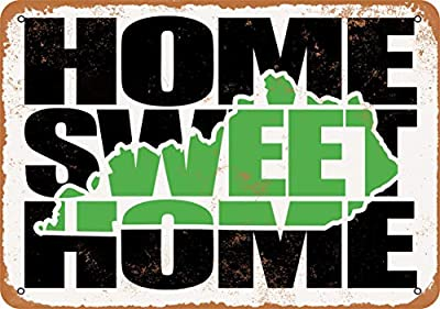 Wall-Color 9 x 12 Metal Sign - Home Sweet Home Kentucky Green - Vintage Look