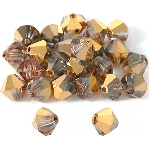 (24 Rose Gold Bicone Swarovski Crystal Beads 5301)