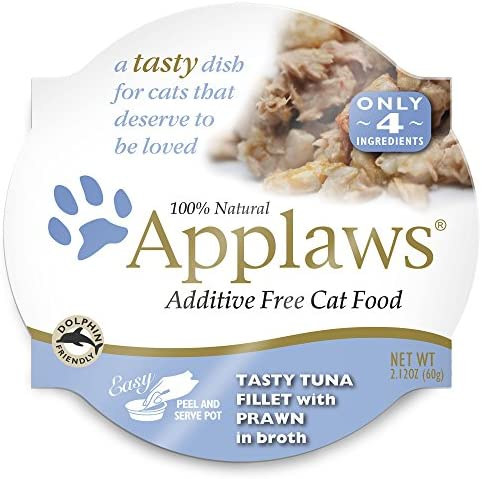 Applaws Tasty Tuna Fillet with Prawn Cat Food, 18 – 2.12 Ounce Cups