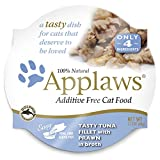 Applaws Premium Grain Free Wet Cat Food, Tuna Fillet with Shrimp, Only 4 Ingredients, 2.1 oz tub (18 Count) For Sale