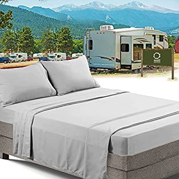 RV/Short Queen Bed Sheets Set Bedding Sheets Set for Campers, 4-Piece Bed Set, Deep Pockets Fitted Sheet, 100% Luxury Soft Microfiber, Hypoallergenic, Cool & Breathable, Silver