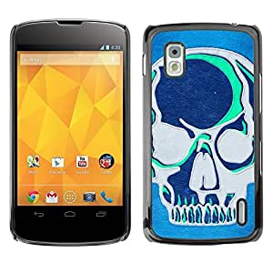 YiPhone /// Prima de resorte delgada de la cubierta del caso de Shell Armor - Teal Blue Artistic Skull Grey Art Graffiti - LG Google Nexus 4 E960