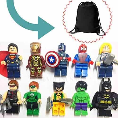 MadeinUSA 10 Mini Super Heroes Avengers Figures   Bonus Draw String Bag Included