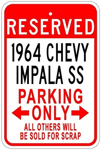 Chevy Impala Sign - Metal Signs 1964 64 Chevy Impala Ss Aluminum Parking Sign - 12 X 18 Inches