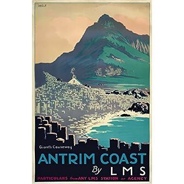 TX425 Vintage Ireland Antrim Coast Giants Causeway Railway Travel Retro Poster Re-Print - A3 (432 x 305mm) 16.5  x 11.7