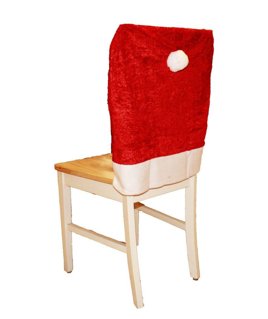 HAAC 2er Set Stuhlhusse aus Samt Mütze Motiv Weihnachtsmütze Farbe rot Weihnacht Weihnachten