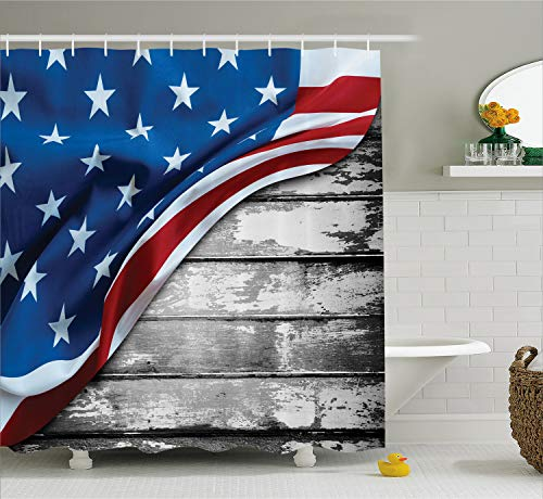 Ambesonne American Flag Shower Curtain, Close up Design Flag Over Antique Rustic Rippled Board Federal Country Art, Cloth Fabric Bathroom Decor Set with Hooks, 75