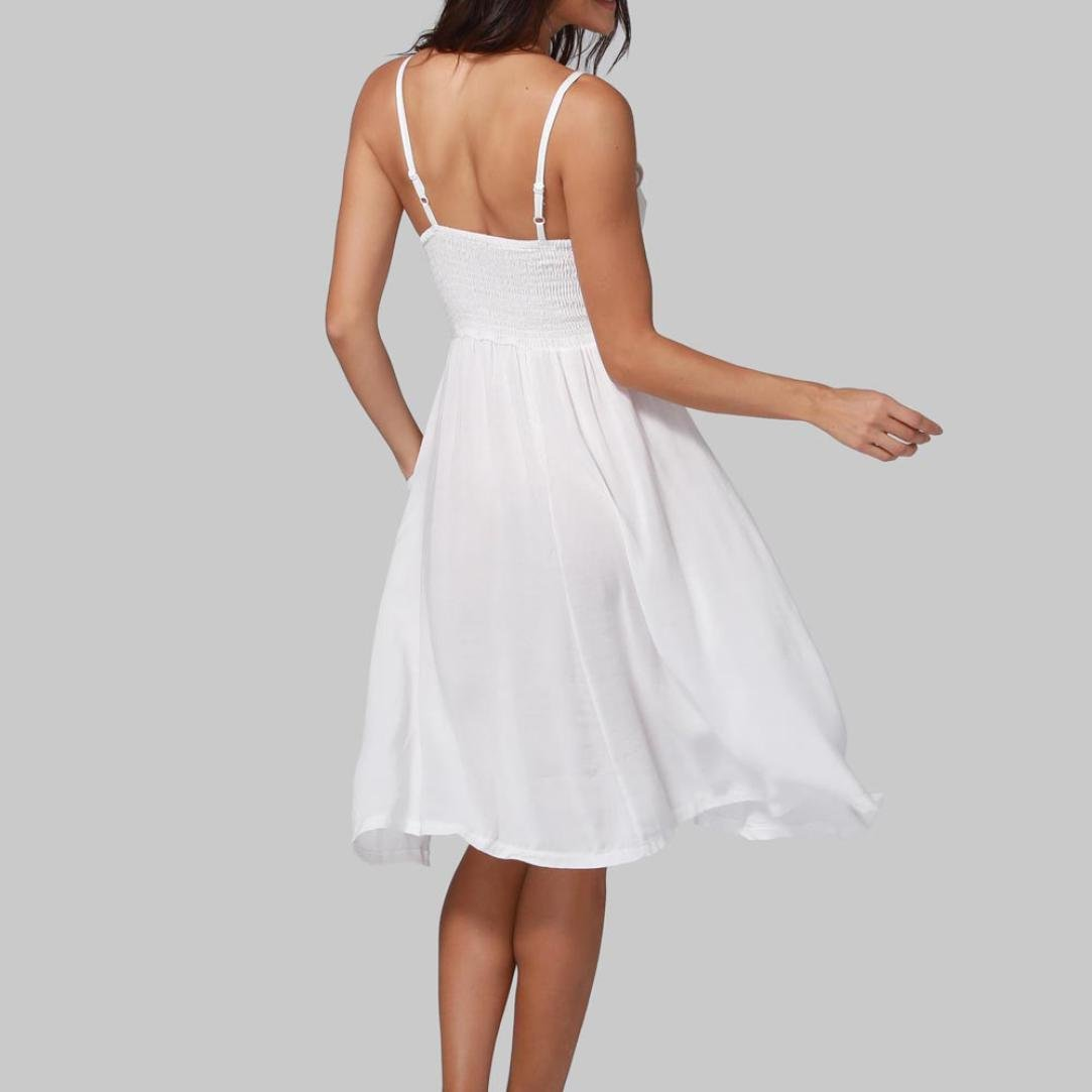 vermers Women Summer Sexy Dresses, Buttons Solid Off Shoulder Sleeveless Princess Dress (XL, White) by vermers (Image #3)