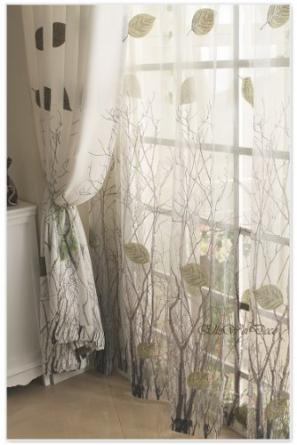 Elleweideco Modern Green Leaf Tree Branch Window Curtain/drape/panel (Green Sheer, 52Wx95L)