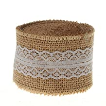 Cypre-10 Yards Natural Hessian Burlap with Lace Ribbon 2 Inch Wide (White)