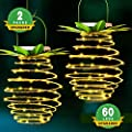 Tcamp 2 Pack 60LEDS Pineapple Solar Lights Outdoor Solar Lights Hanging Solar Lantern with Handle (Warm White)