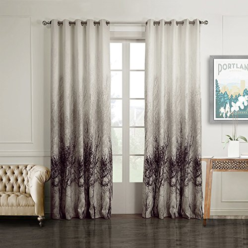 drapes set of 2 watercolor painting art tree and sliver dots shine window curtains grommet top100w by 84linches each panel extra wide